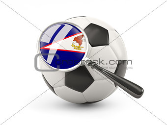 Football with magnified flag of american samoa