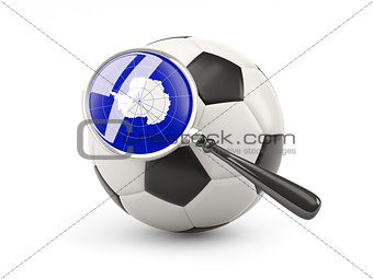 Football with magnified flag of antarctica