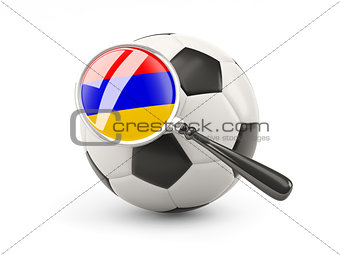 Football with magnified flag of armenia