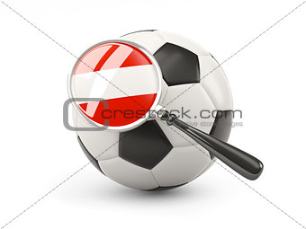 Football with magnified flag of austria