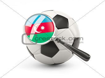 Football with magnified flag of azerbaijan