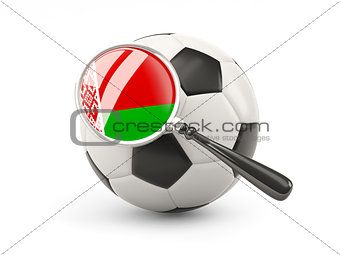 Football with magnified flag of belarus