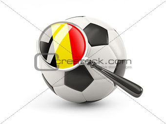 Football with magnified flag of belgium