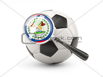 Football with magnified flag of belize