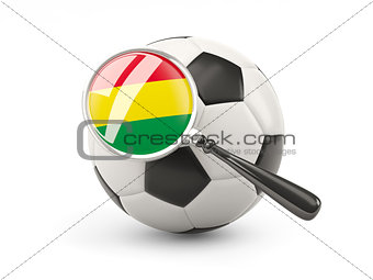 Football with magnified flag of bolivia