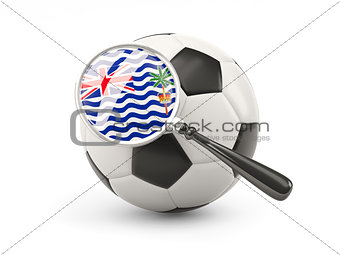 Football with magnified flag of british indian ocean territory