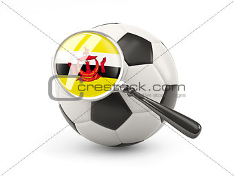 Football with magnified flag of brunei