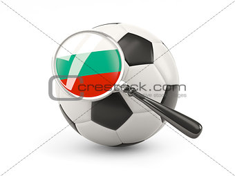 Football with magnified flag of bulgaria