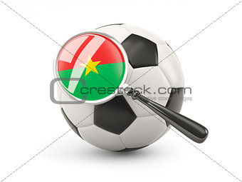 Football with magnified flag of burkina faso