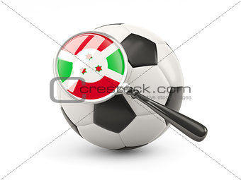 Football with magnified flag of burundi