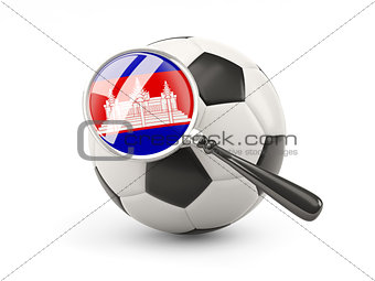 Football with magnified flag of cambodia