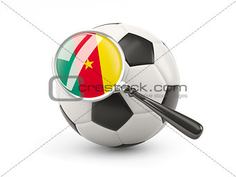 Football with magnified flag of cameroon