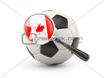 Football with magnified flag of canada