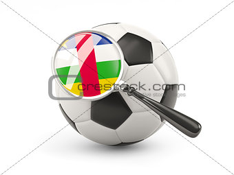 Football with magnified flag of central african republic