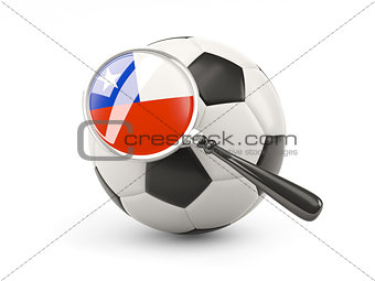 Football with magnified flag of chile