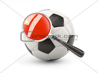 Football with magnified flag of china