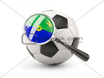 Football with magnified flag of christmas island