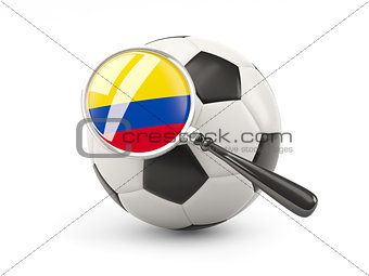 Football with magnified flag of colombia