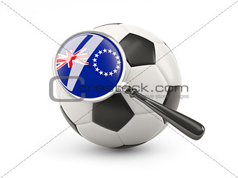 Football with magnified flag of cook islands