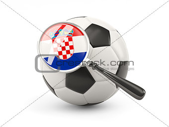 Football with magnified flag of croatia