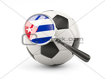 Football with magnified flag of cuba