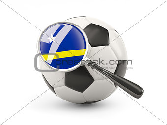 Football with magnified flag of curacao