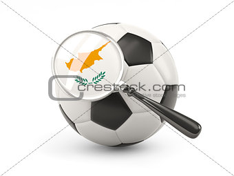 Football with magnified flag of cyprus