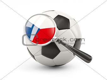 Football with magnified flag of czech republic