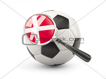 Football with magnified flag of denmark