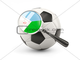 Football with magnified flag of djibouti