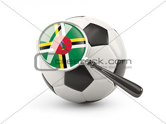 Football with magnified flag of dominica