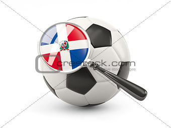Football with magnified flag of dominican republic