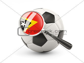 Football with magnified flag of east timor