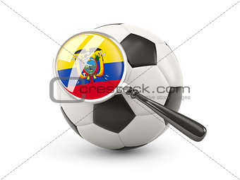 Football with magnified flag of ecuador
