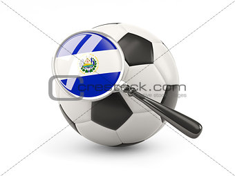 Football with magnified flag of el salvador