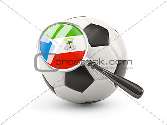Football with magnified flag of equatorial guinea