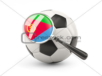 Football with magnified flag of eritrea