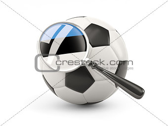 Football with magnified flag of estonia