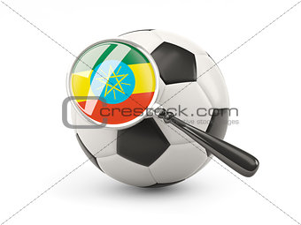 Football with magnified flag of ethiopia