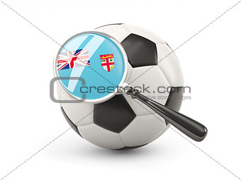 Football with magnified flag of fiji