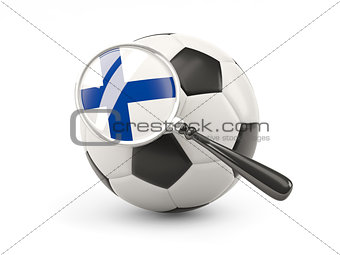Football with magnified flag of finland
