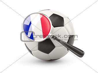 Football with magnified flag of france