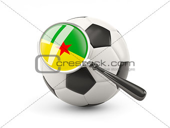 Football with magnified flag of french guiana