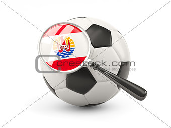 Football with magnified flag of french polynesia