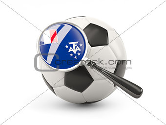 Football with magnified flag of french southern territories