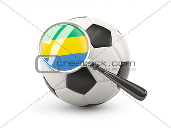 Football with magnified flag of gabon