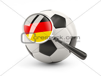 Football with magnified flag of germany