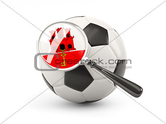 Football with magnified flag of gibraltar