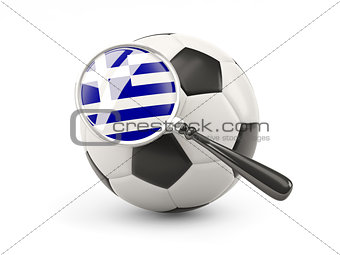 Football with magnified flag of greece