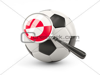 Football with magnified flag of greenland